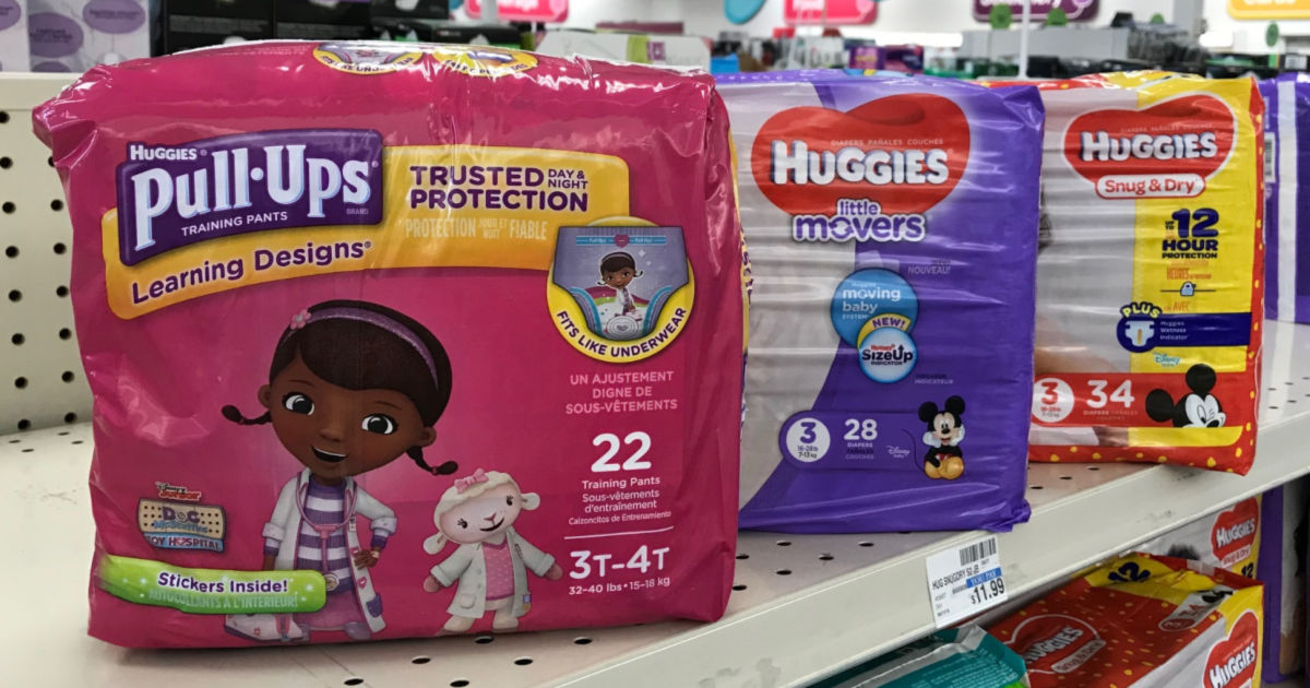 Huggies diapers on shelf