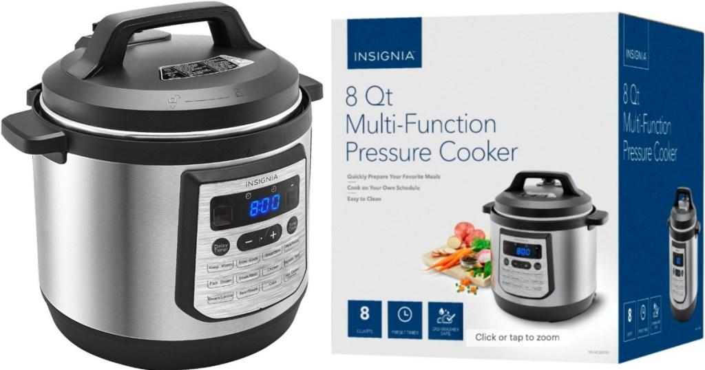 Insignia 8-quart pressure cooker next to box