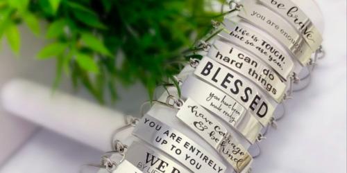 Stamped Steel Meaningful Hinged Bangles Only $9.98 Shipped (Comes w/ Gift Bag)