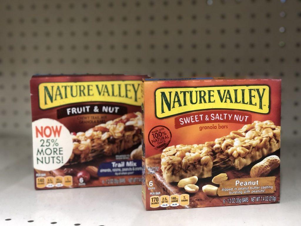 nature valley granola bars on shelf