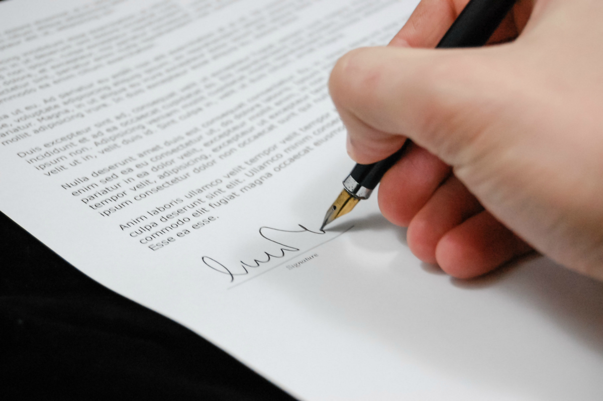 Notarizing and signing a document