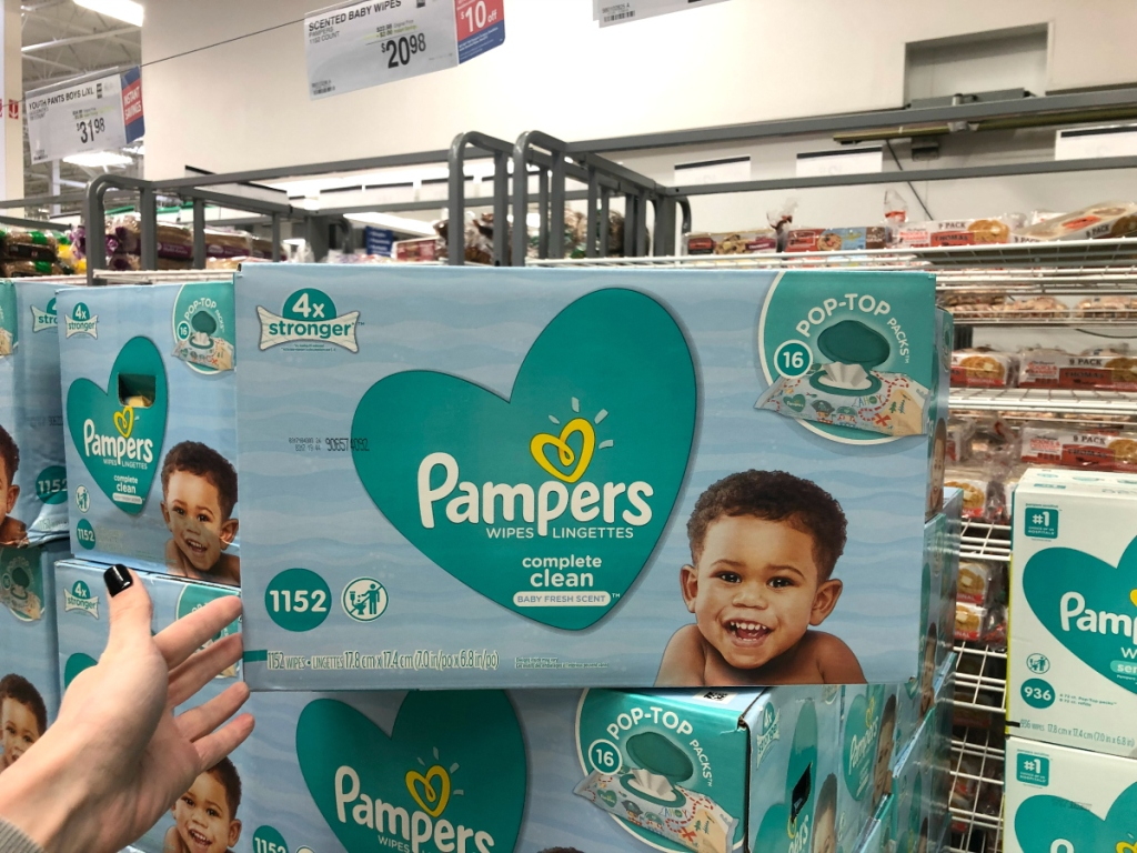 Pampers baby wipes at Sam's Club