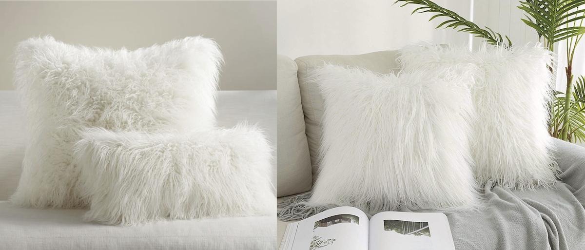 pottery barn and amazon copycat items – faux fur pillow comparisons