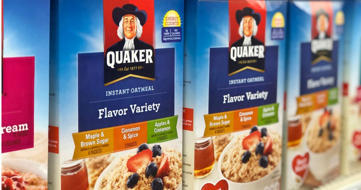 Quaker Instant Oatmeal boxes