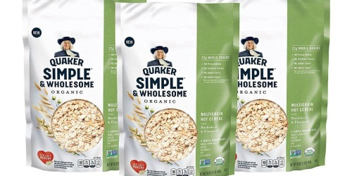 Amazon: THREE Quaker Simple & Wholesome Organic Hot Cereal 1 Pound Bags Only $8 Shipped