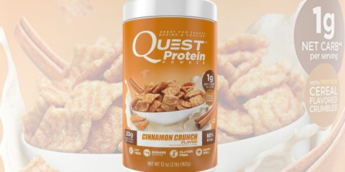 Amazon: Quest Nutrition Cinnamon Crunch Protein Powder 2-Pounds Only $16.95 Shipped