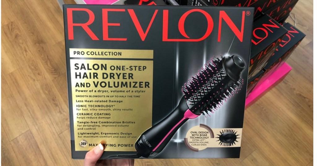 holding Revlon One-Step hair dryer