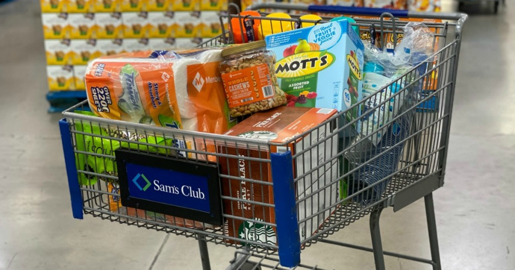 Sam's Club shopping cart filled with groceries