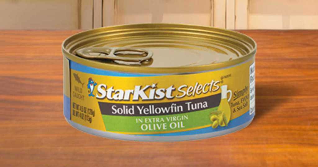 StarKist Selects Solid Yellowfin Tuna Fillet in Extra Virgin Olive Oil Can sitting on a table