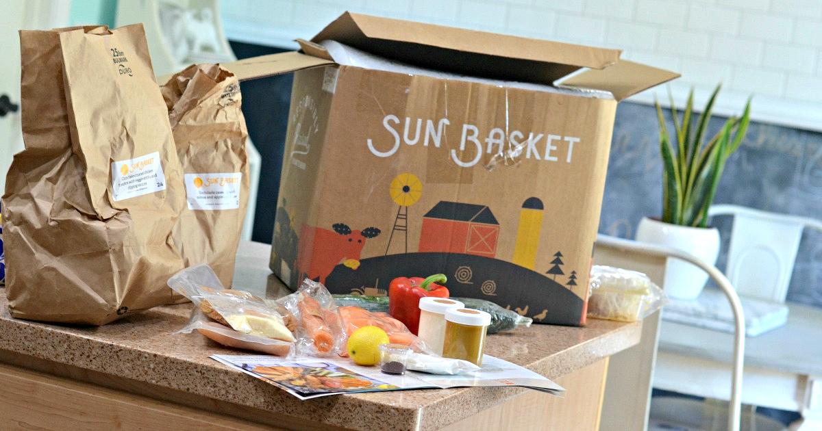 Sun Basket Organic Meal Kits box and ingredients