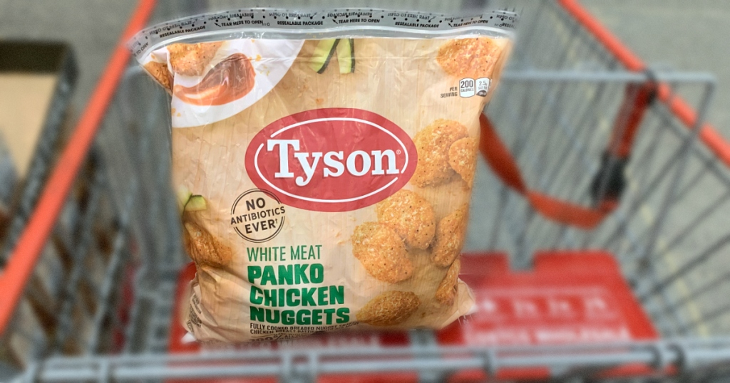 Tyson chicken nuggets in Costco grocery cart