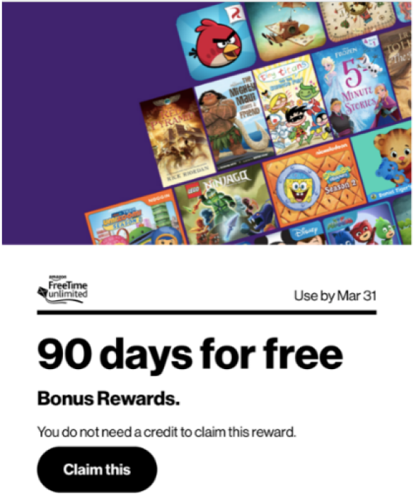 Free 90 Days Amazon Freetime Unlimited For Verizon Up