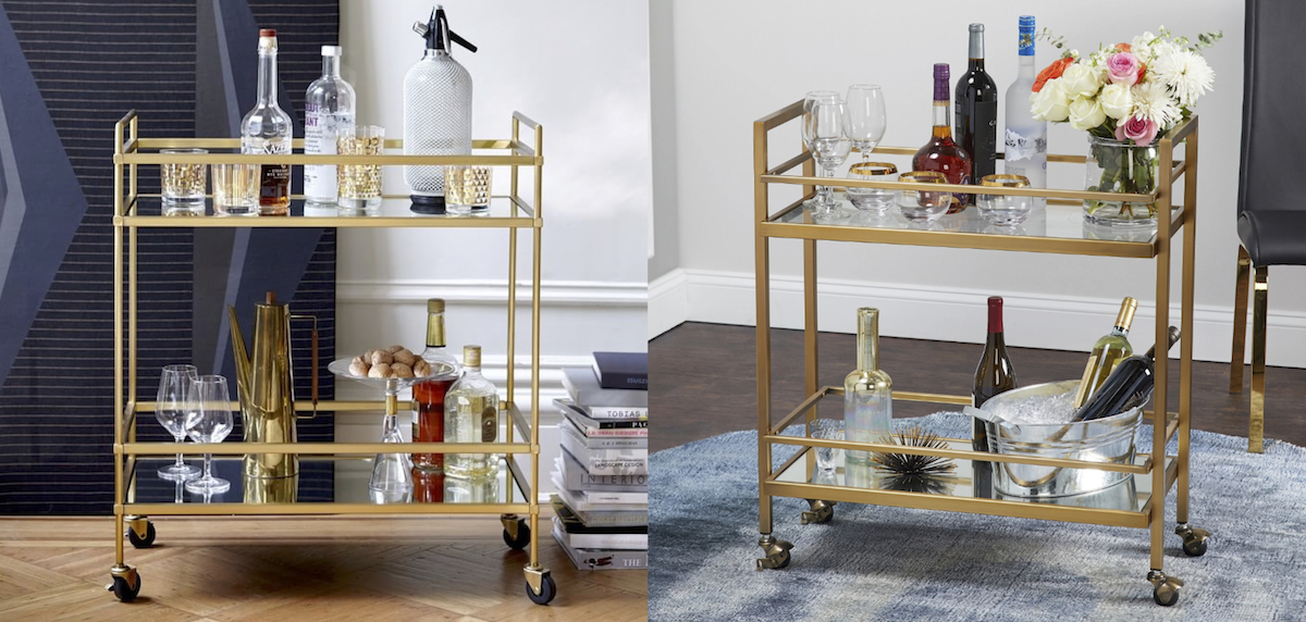 west elm copycat for less money  gold bar carts comparisons side by side