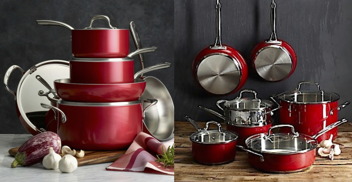 williams sonoma copycat budget – red cookware set pots and pans comparisons side by side