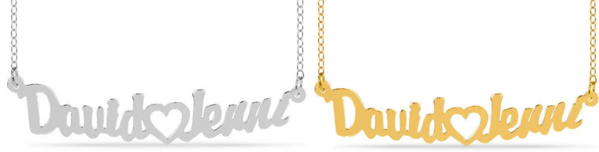 Zales couple name necklaces in silver and gold