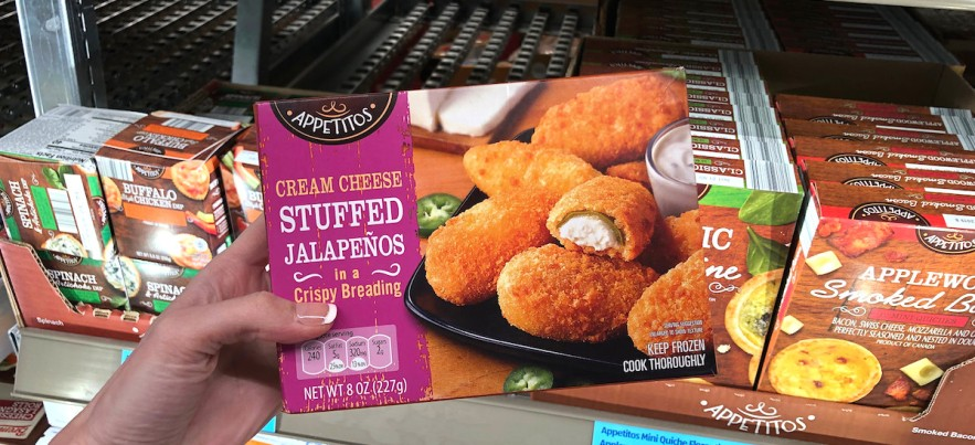 best aldi snack foods to save money include this frozen box of cream cheese jalapeño poppers