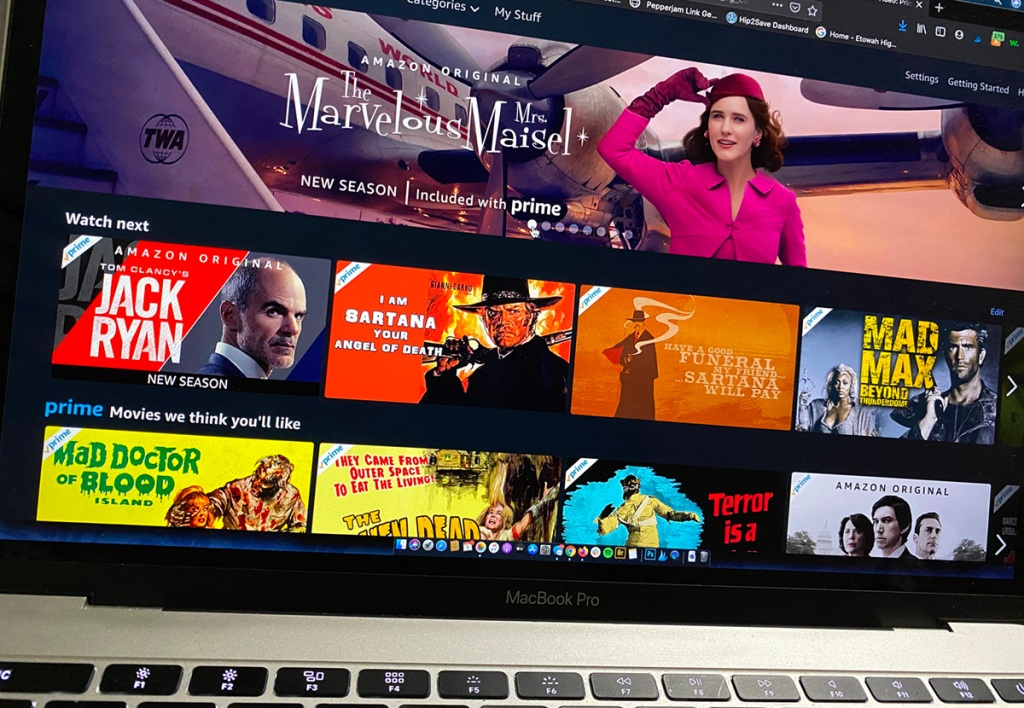 amazon prime tv on macbook computer screen