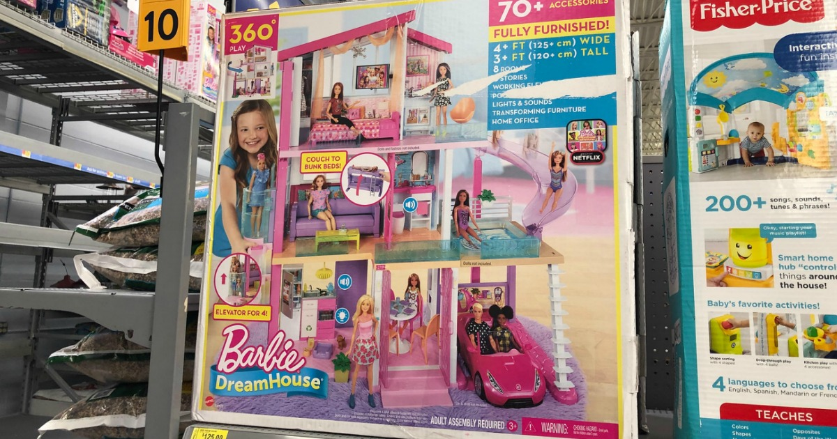 barbie dream house play set in store on shelf