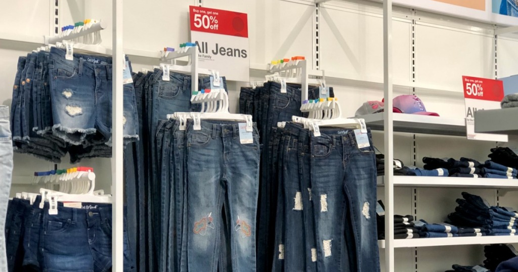 women's jeans on display in store