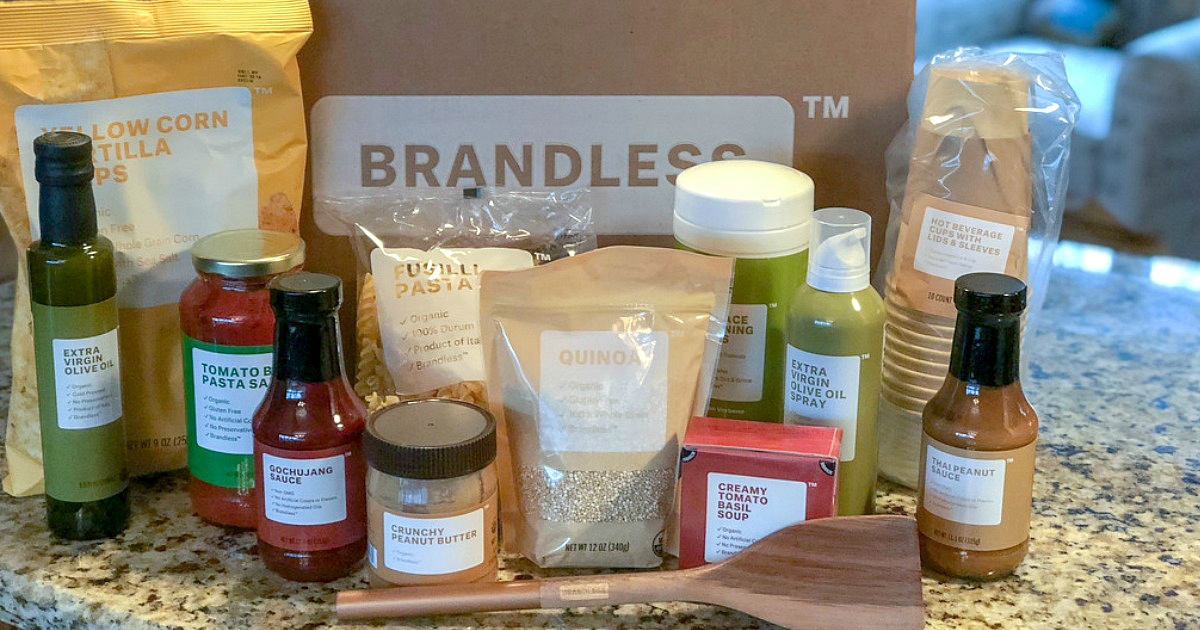 brandless snacking items in front of a shipping box