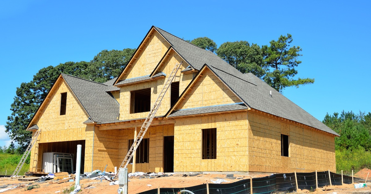building a new house on a construction site