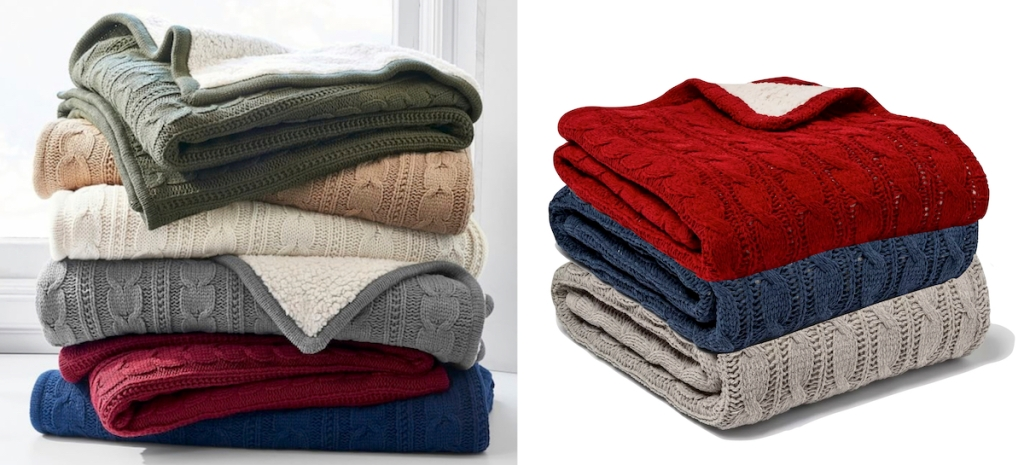 cable knit blankets stacked in piles