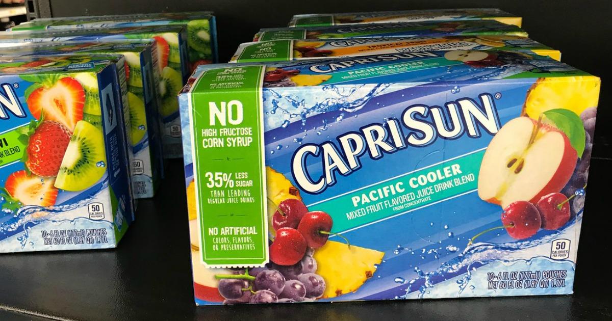 boxes of Capri Sun drinks on a store shelf