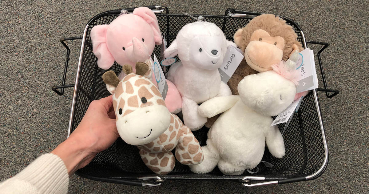 Kohl's carter's plush toys in a basket