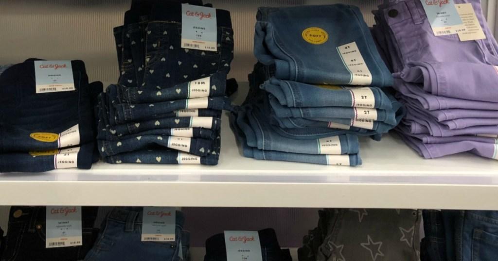 Cat & Jack Jeans on shelf