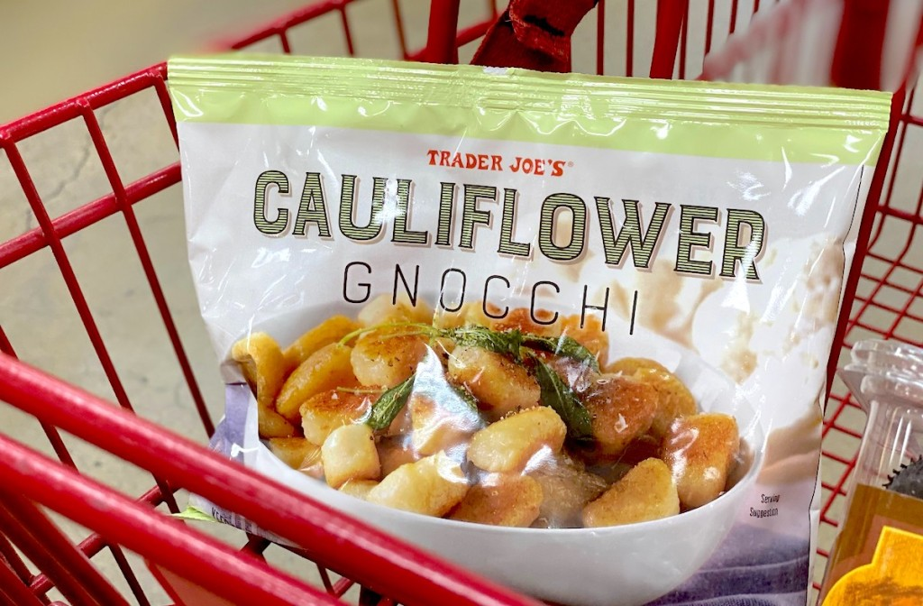 bag of cauliflower gnocchi sitting in red cart
