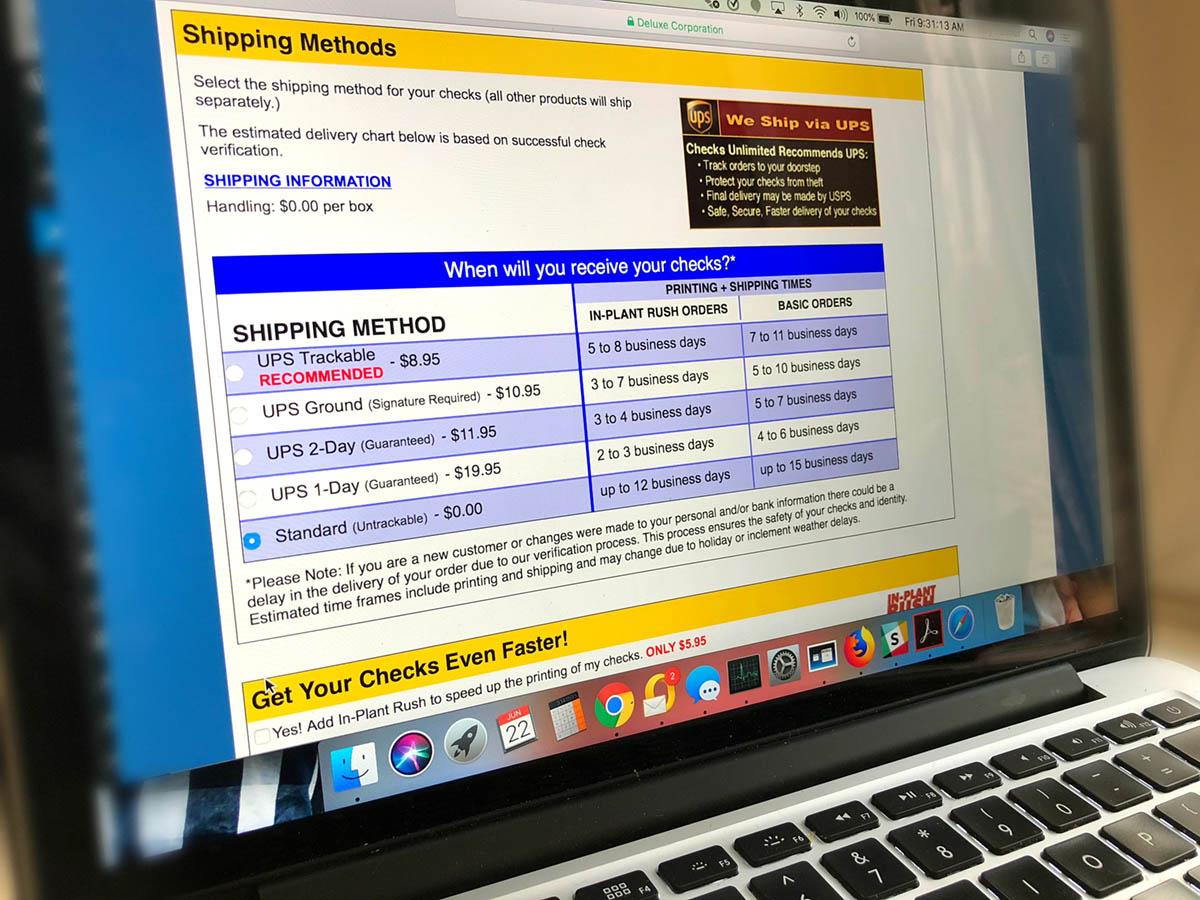 custom checks deal + free address labels – computer order screen