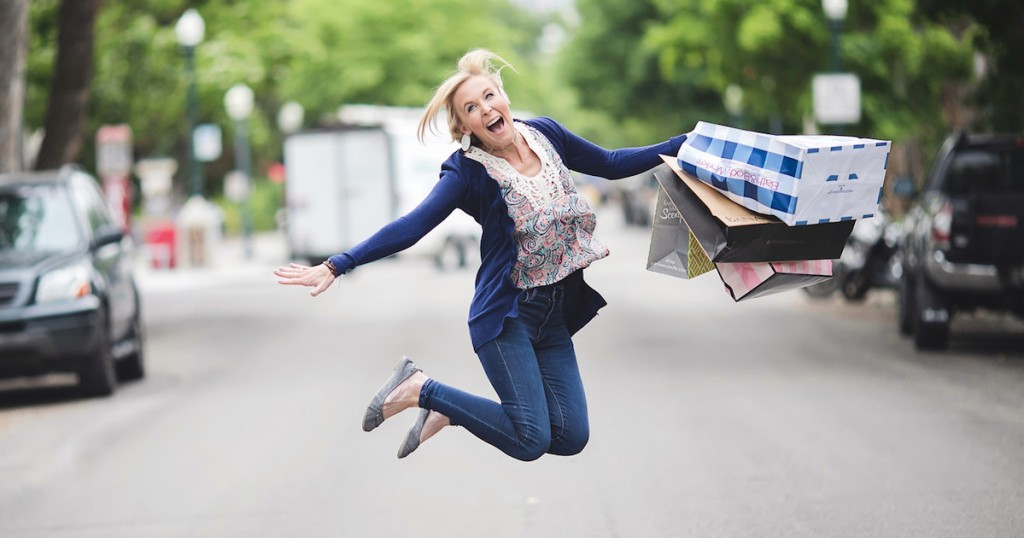 mommy mom me time ideas - collin jumping in air with shopping bags