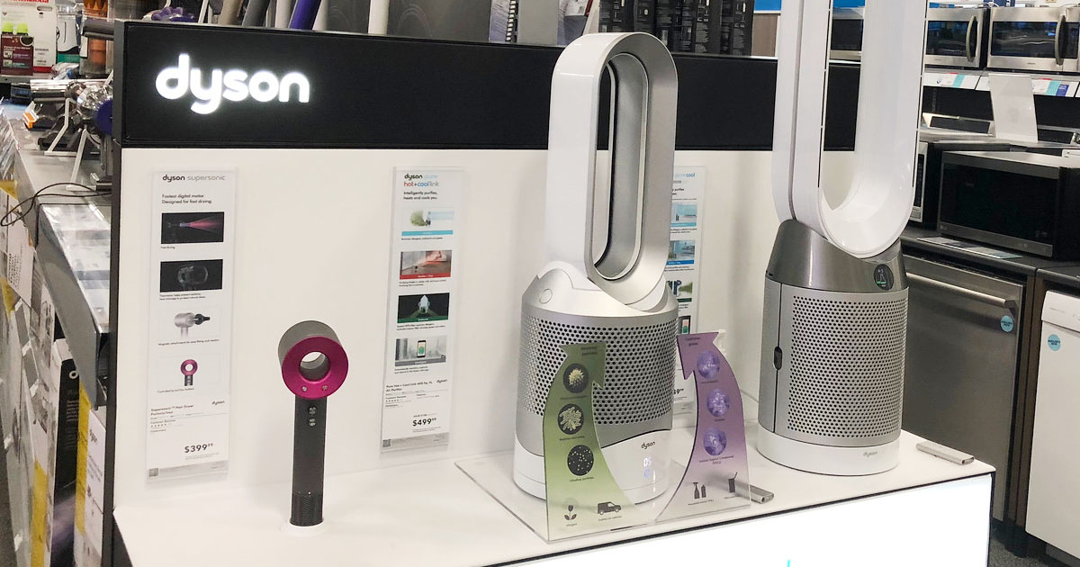 dyson pure hot & cool fan on a store display