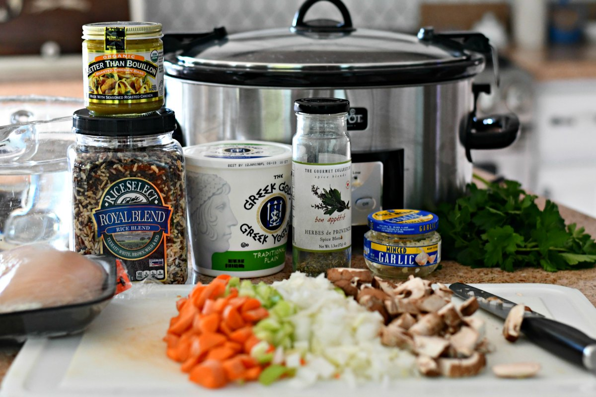Slow Cooker Wild Rice Soup – ingredients on the counter