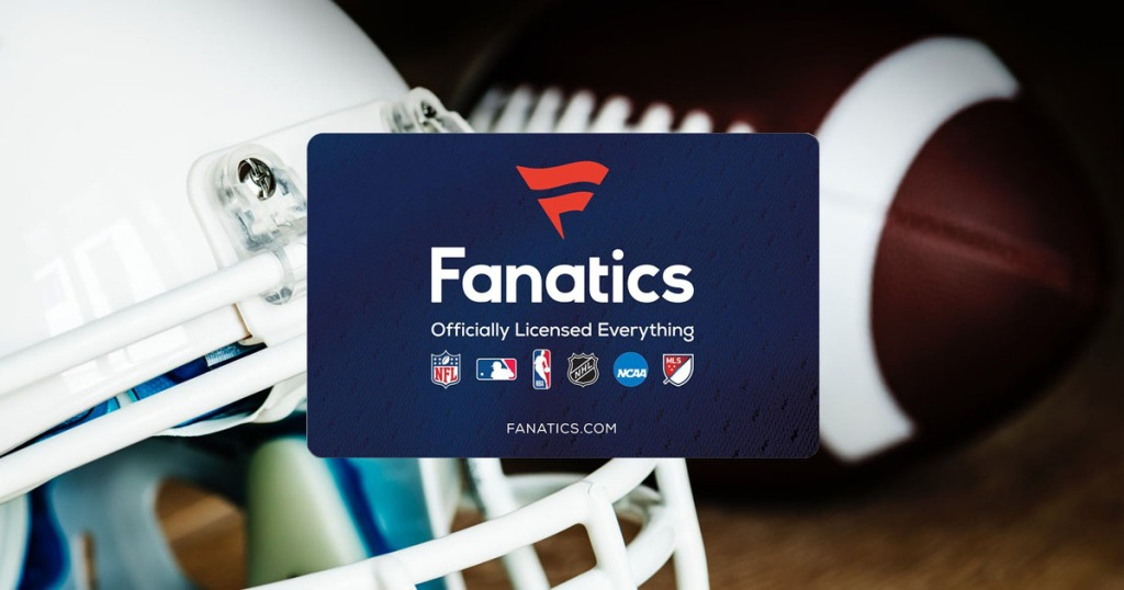 fanatics gift card overlaid against a football and helmet