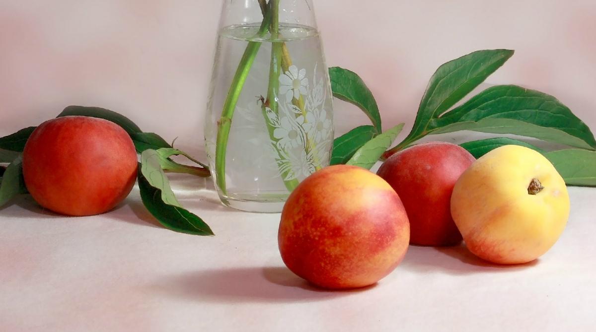 fresh peaches on a table