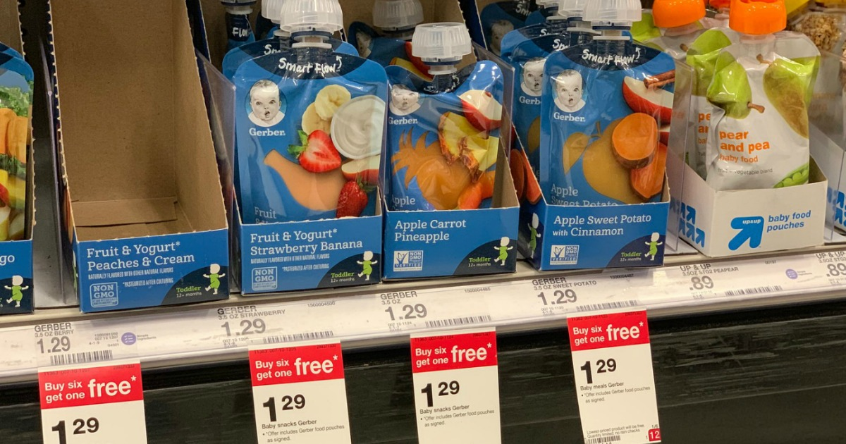 graphic regarding Baby Food Coupons Printable named $4.25 Really worth of Refreshing Gerber Discount coupons \u003d Child Meals Pouches Simply just