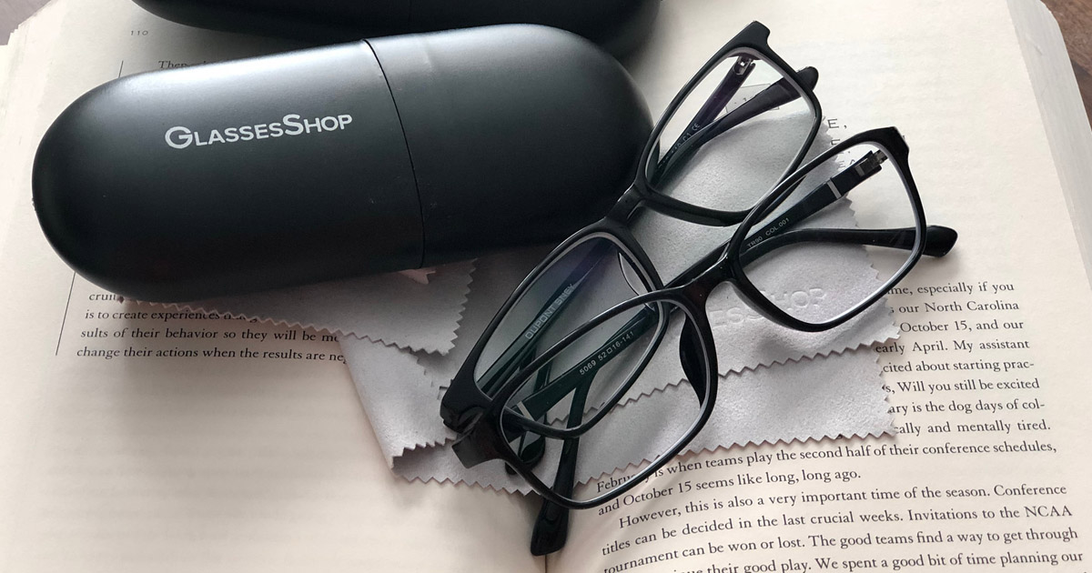 GlassesShop glasses case and two pairs of eyeglasses