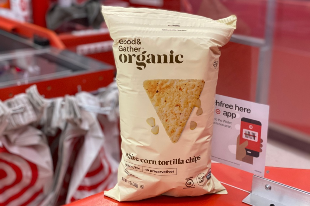 bag of target brand tortilla chips in front of plastic bags
