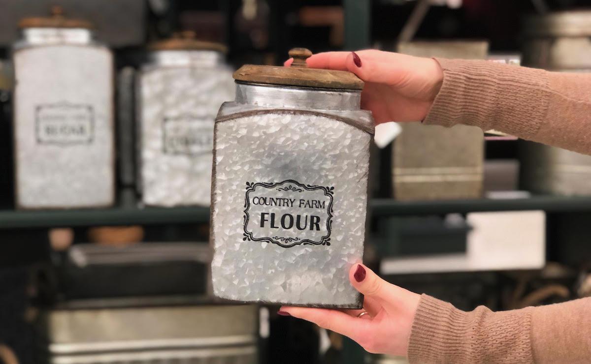 hobby lobby country farm container flour canister metal tin decor