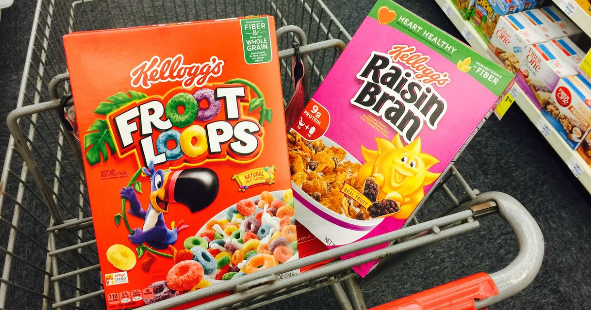 two boxes of kelloggs cereal in cvsw cart
