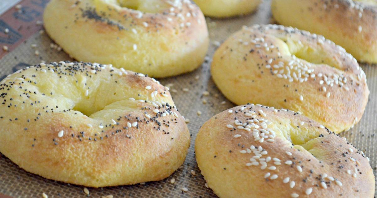 keto bagels recipe on a silpat baking sheet