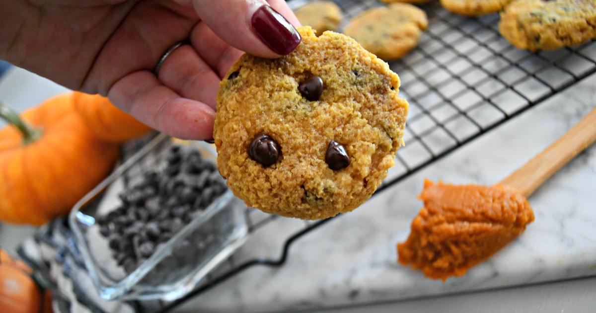 Hip2keto keto pumpkin chocolate chip cookies recipe - cookies on a cooling rack