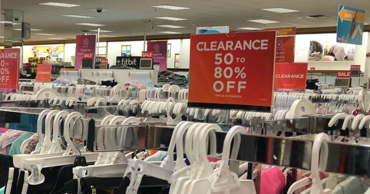 Kohl's clearance section showing 50 to 80% off signs