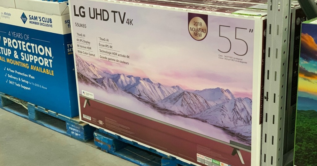 lg uhd tv on pallet at store