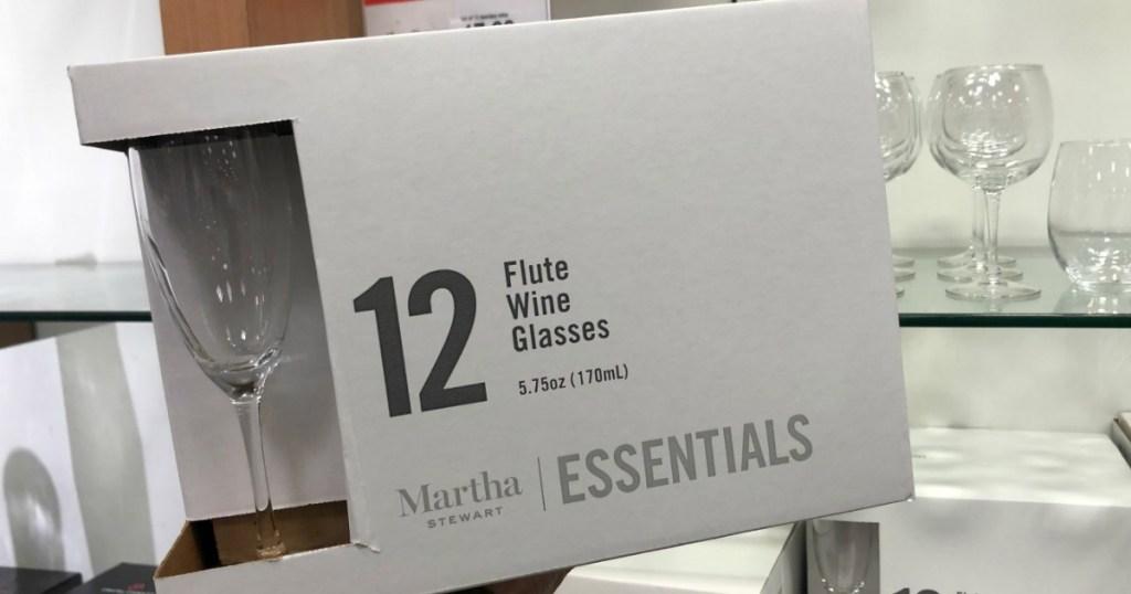 box of Martha Stewart Flute glasses