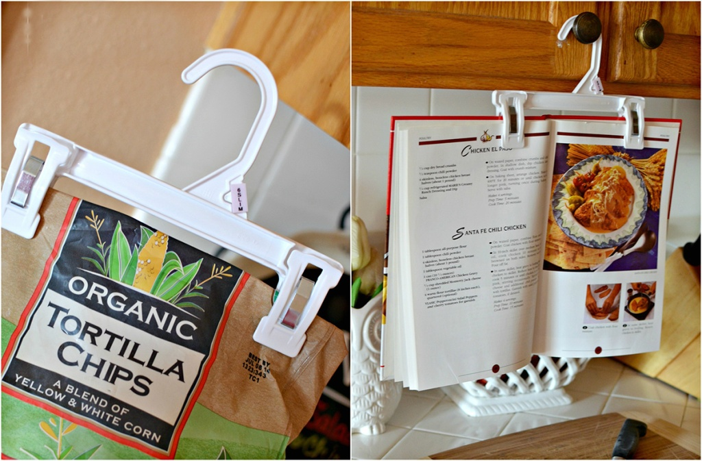 using pant clips to seal chips bag and hold up cookbook