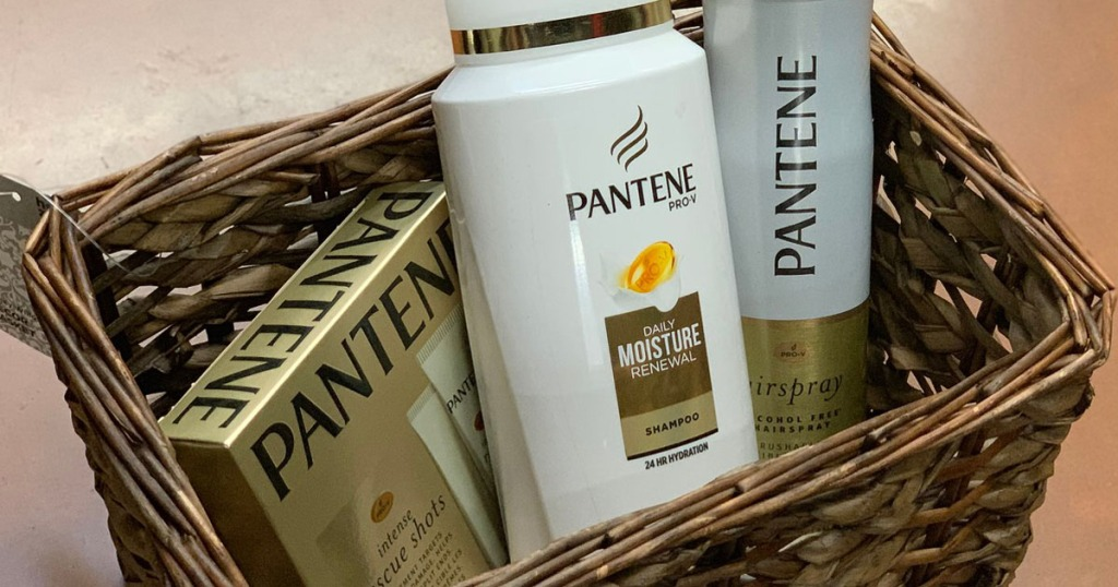 pantene hair care in a basket sitting on the floor