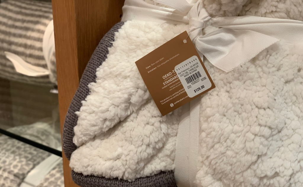 pottery barn copycat post - cable knit throw blanket sherpa lining