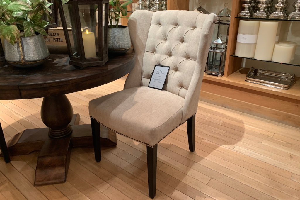 pottery barn copycat post - thayer wingback tufted dining room chair